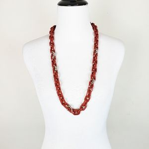 J. Crew Red Chunky Chain Link Rope Long Necklace